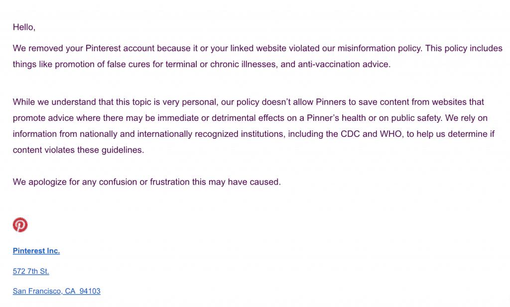 pinterest banning health sites