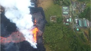 Hawaii volcano lava flows into power plant site