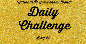 National Preparedness Month Daily Challenge: Day 22