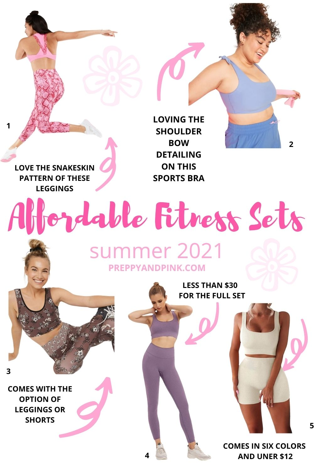 collage of summer matching athleisure sets for women