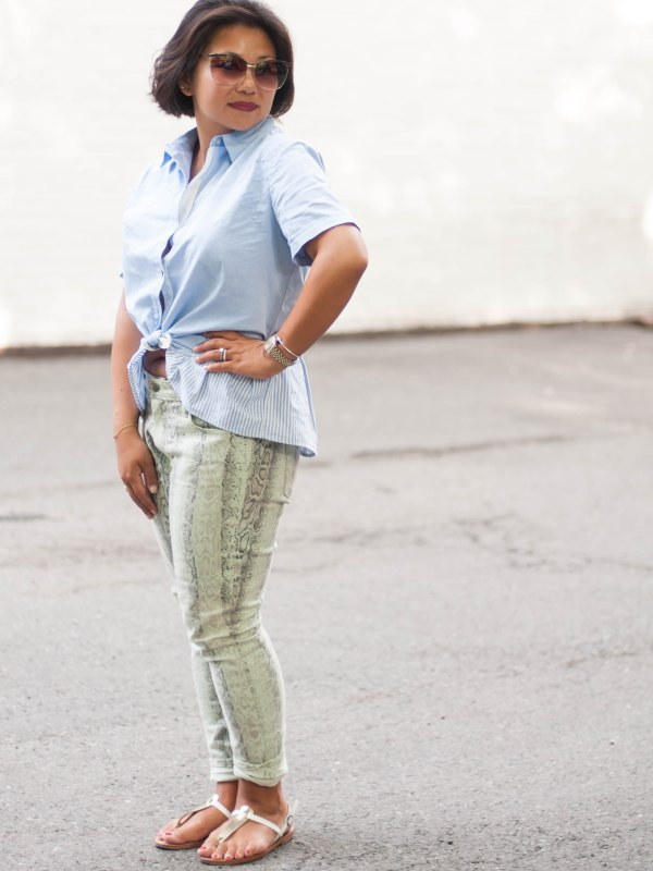 oxford peplum with snakeskin pants