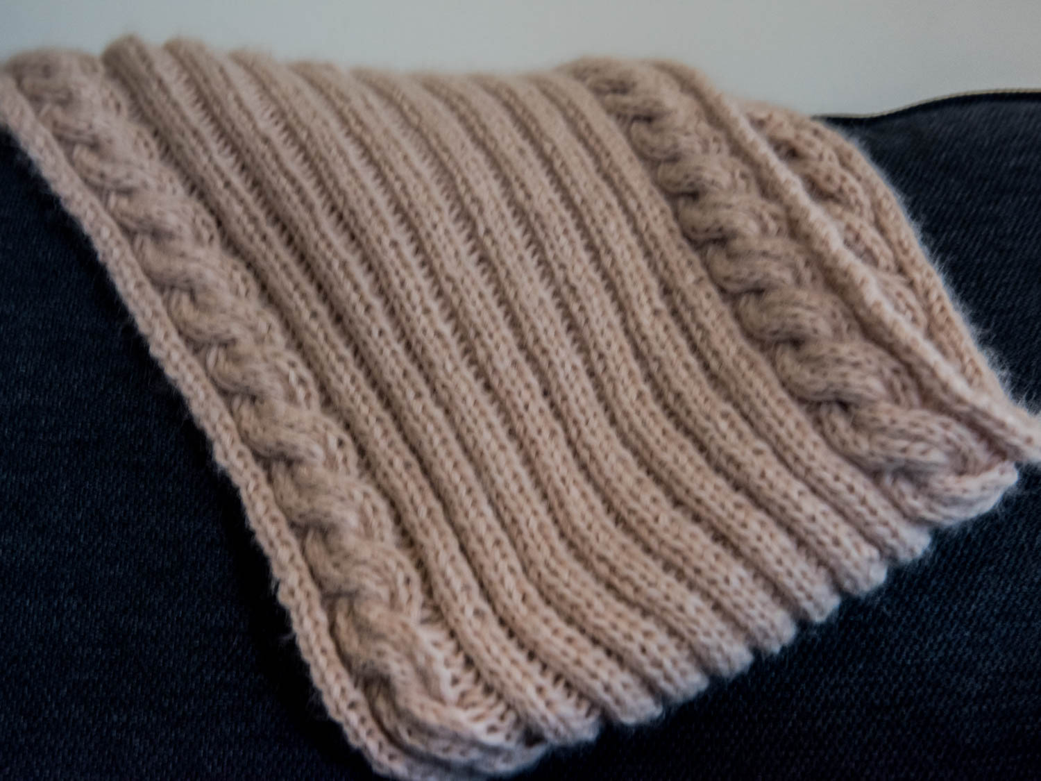Camel cable knit cowl