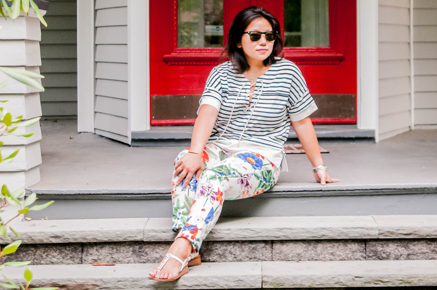 How to mix stripes and floral pattern
