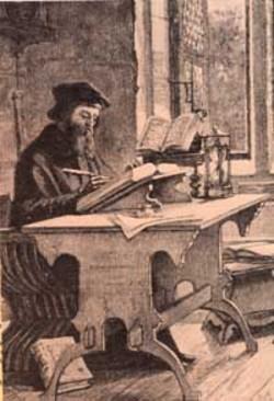 Wycliffe traduciendo la Biblia al inglés