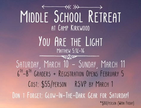 Middle School Retreat Promo