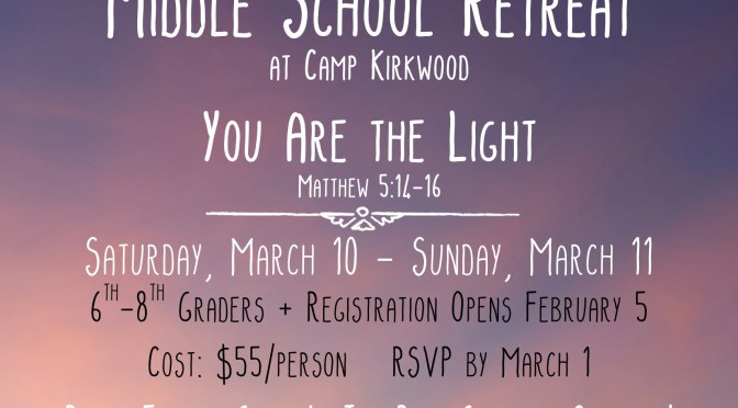 Middle School Retreat March 2018