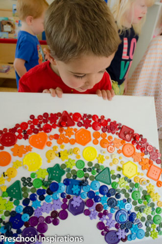 Rainbow Button Collage Craft by Preschool Inspirations-6