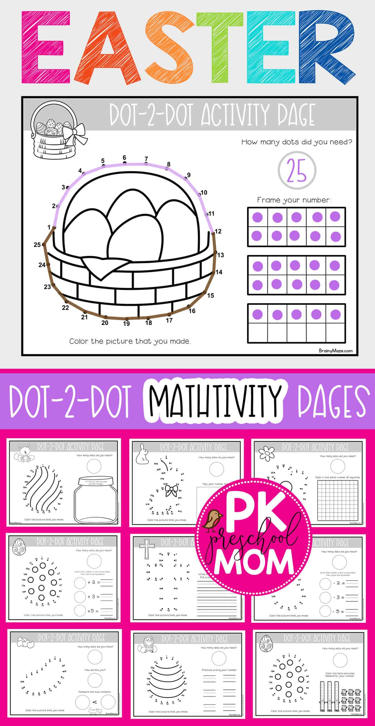 Easter Dot To Dot Preschool Worksheets