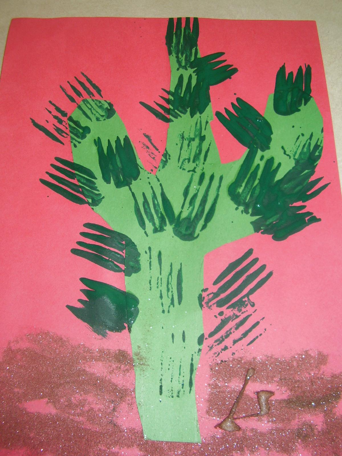 Fork Stamp Cactus Craft 1 Preschoolplanet