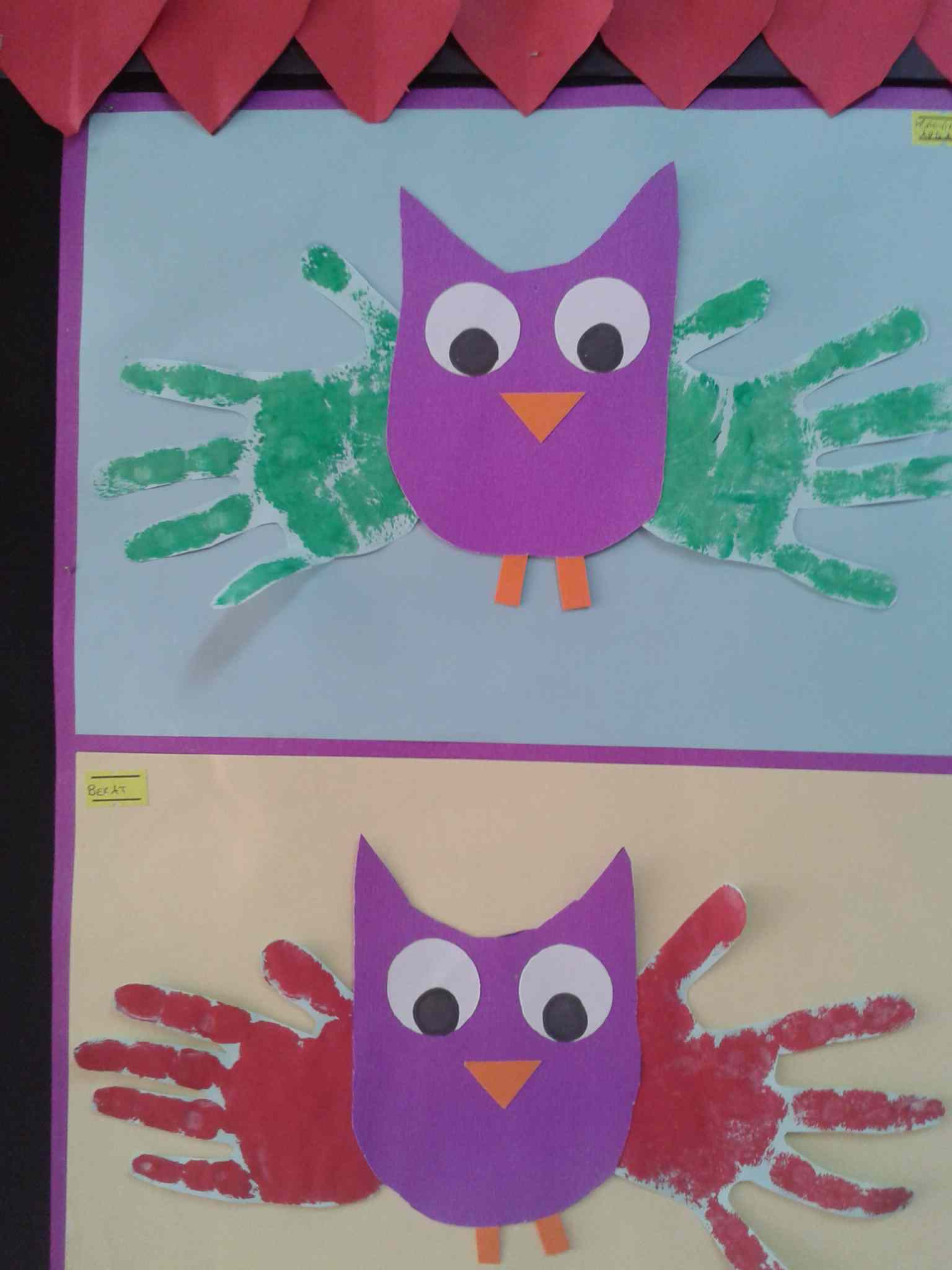 Handprint Owl Craft Idea For Toddlers Preschoolplanet