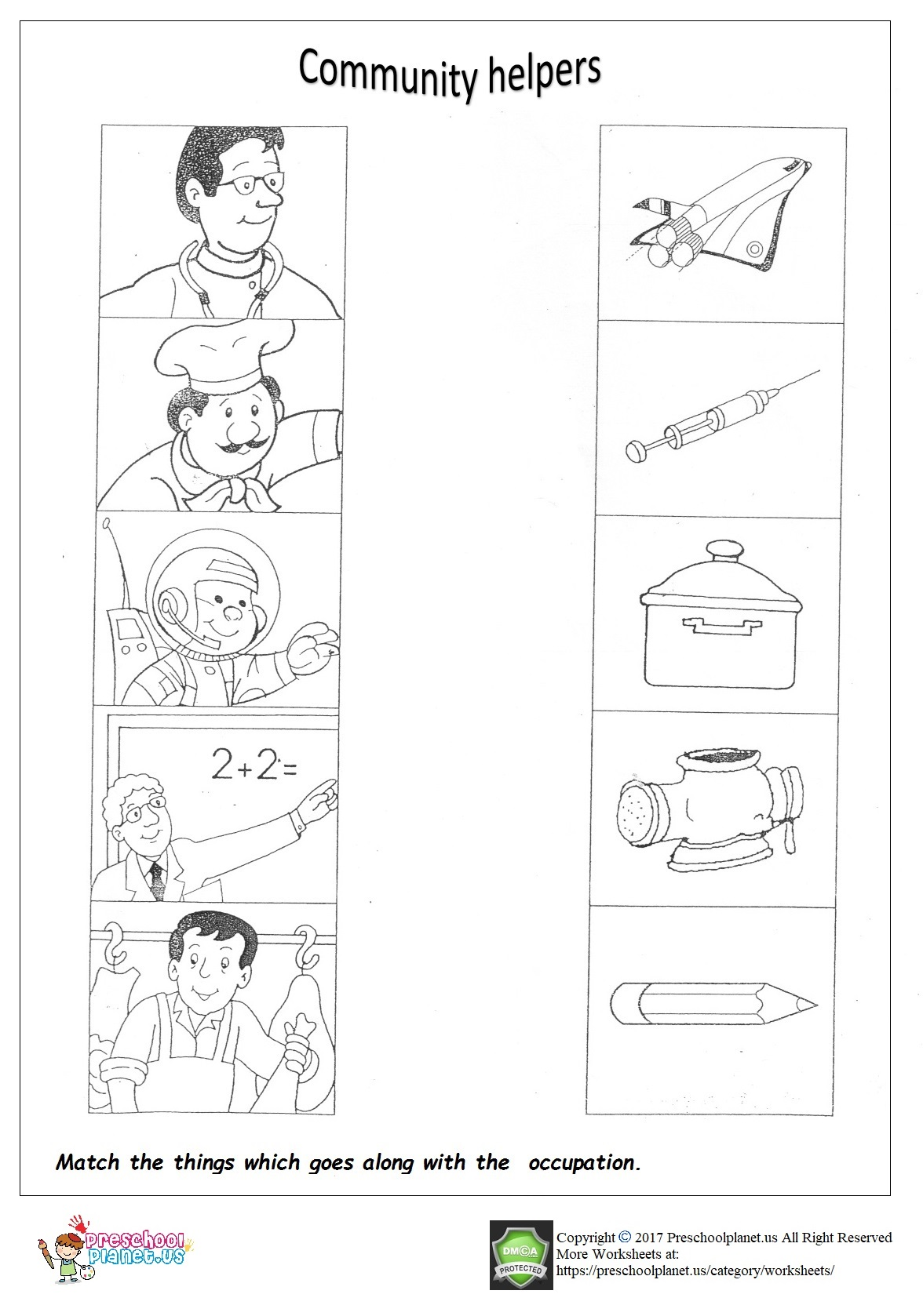 Community Helpers Worksheet For Kindergarten Preschoolplanet