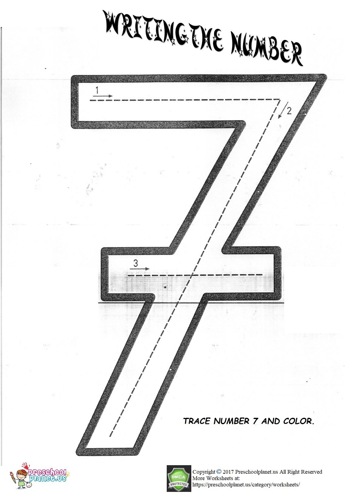 Number 7 Worksheet Preschoolplanet
