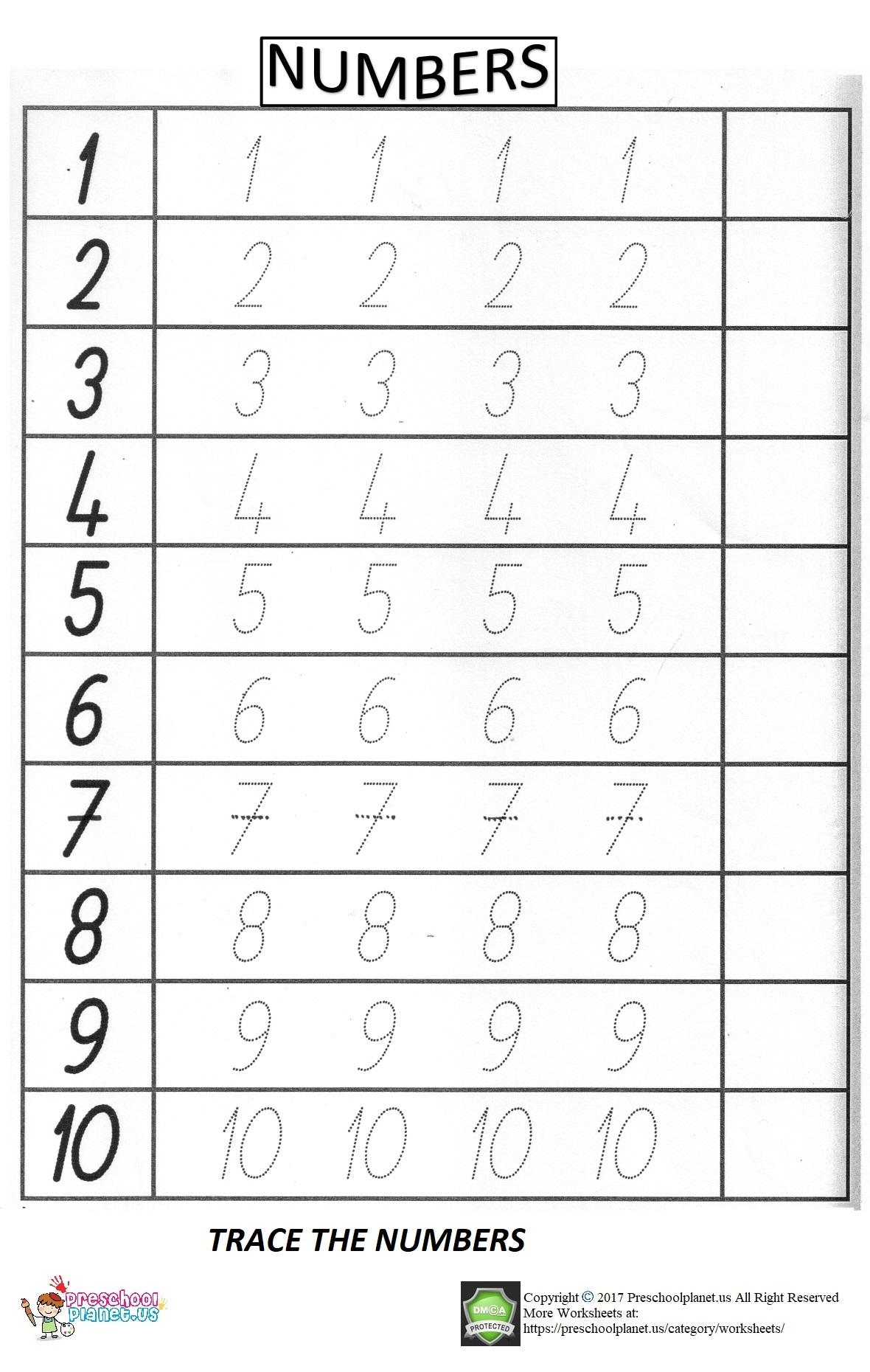 Number Trace Worksheet For Preschool Preschoolplanet