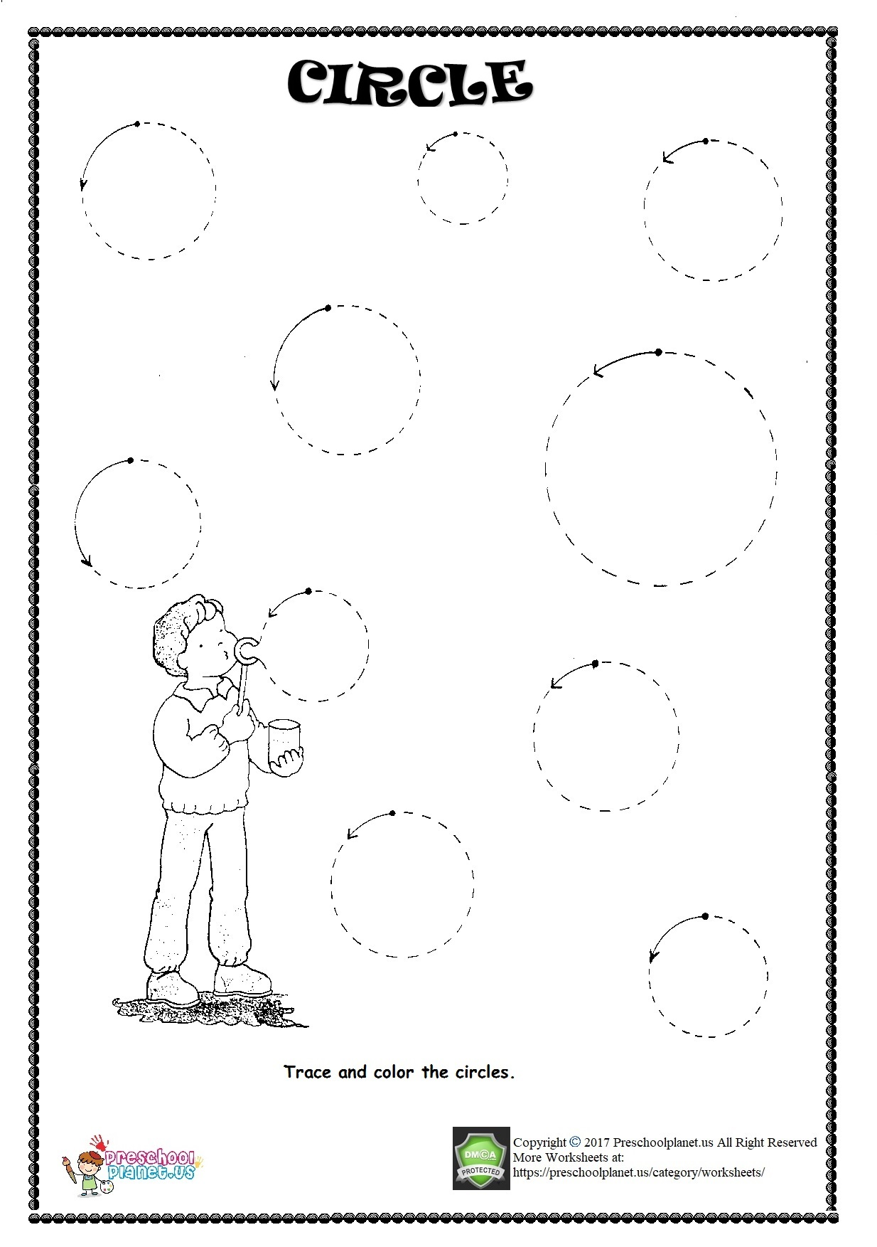 Circle Worksheet For Kindergarten Free