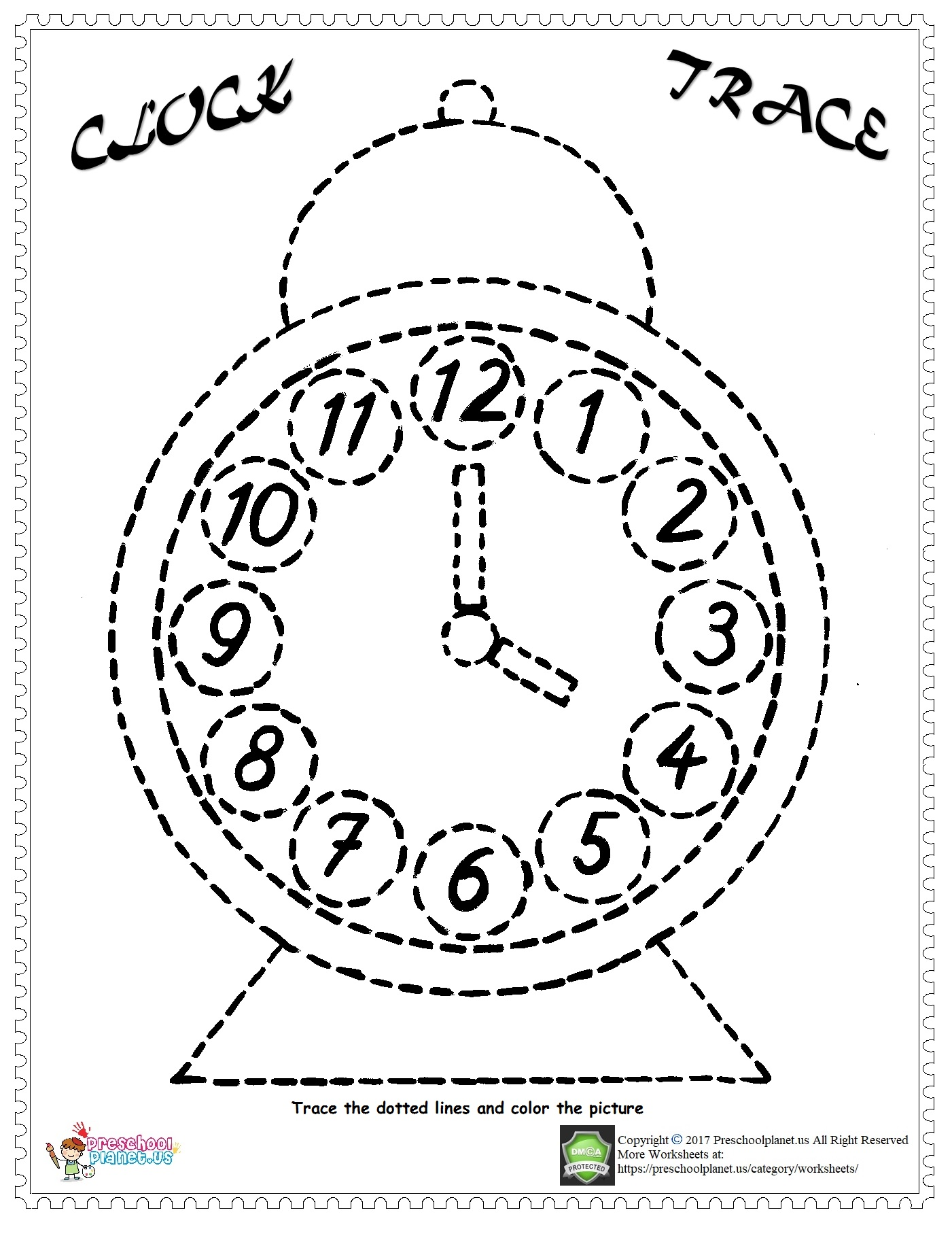 Clock Sheets For Kindergarten Coloring Pages