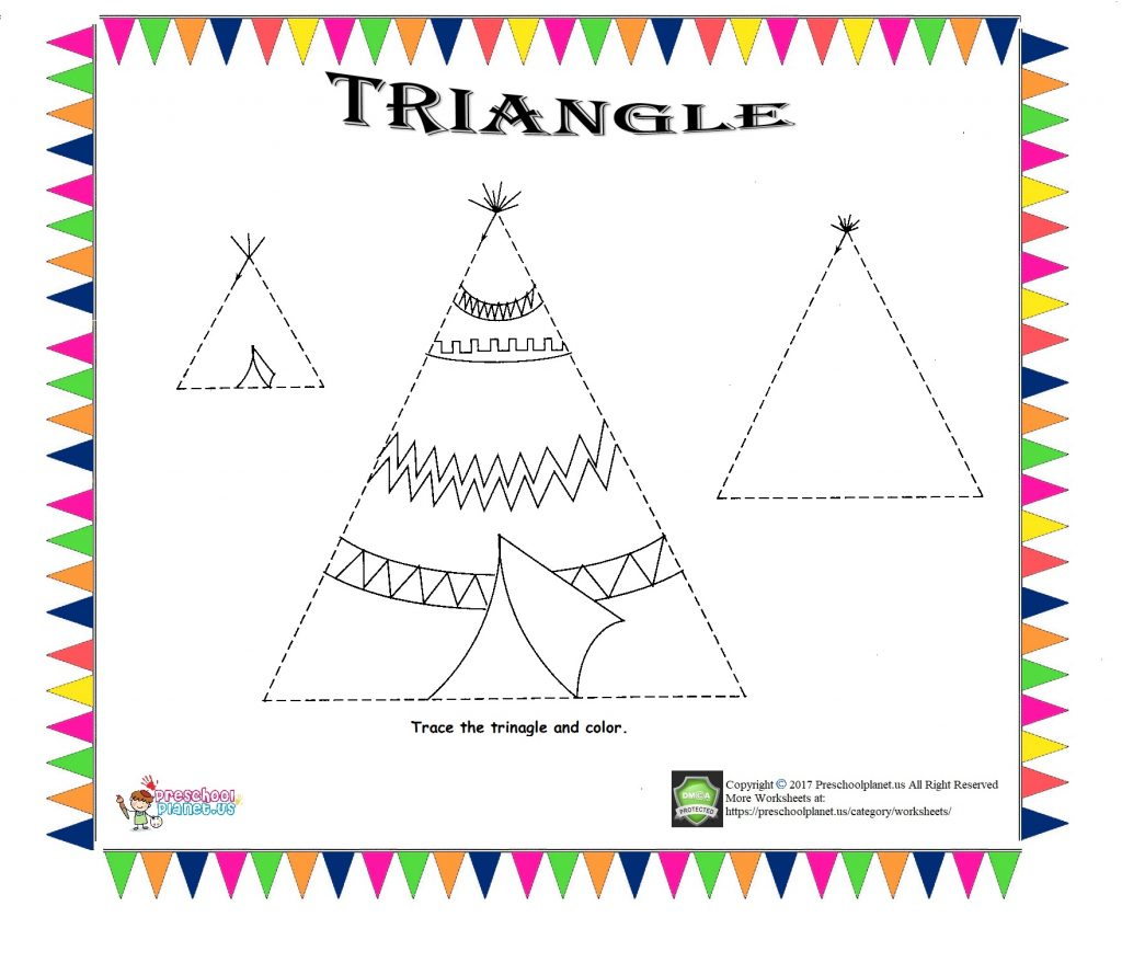 Triangle Trace Worksheet For Kids Preschoolplanet