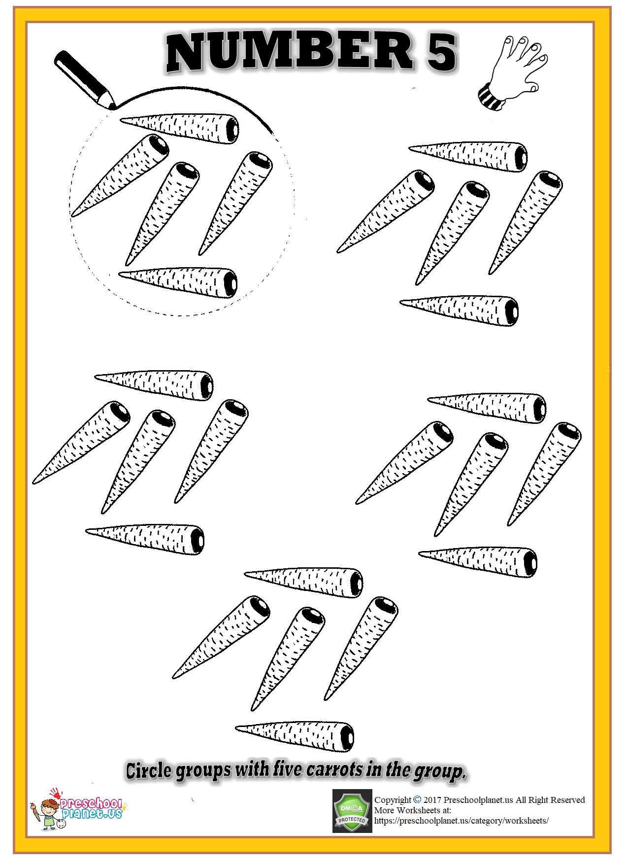 Kindergarten Worksheet Number Five