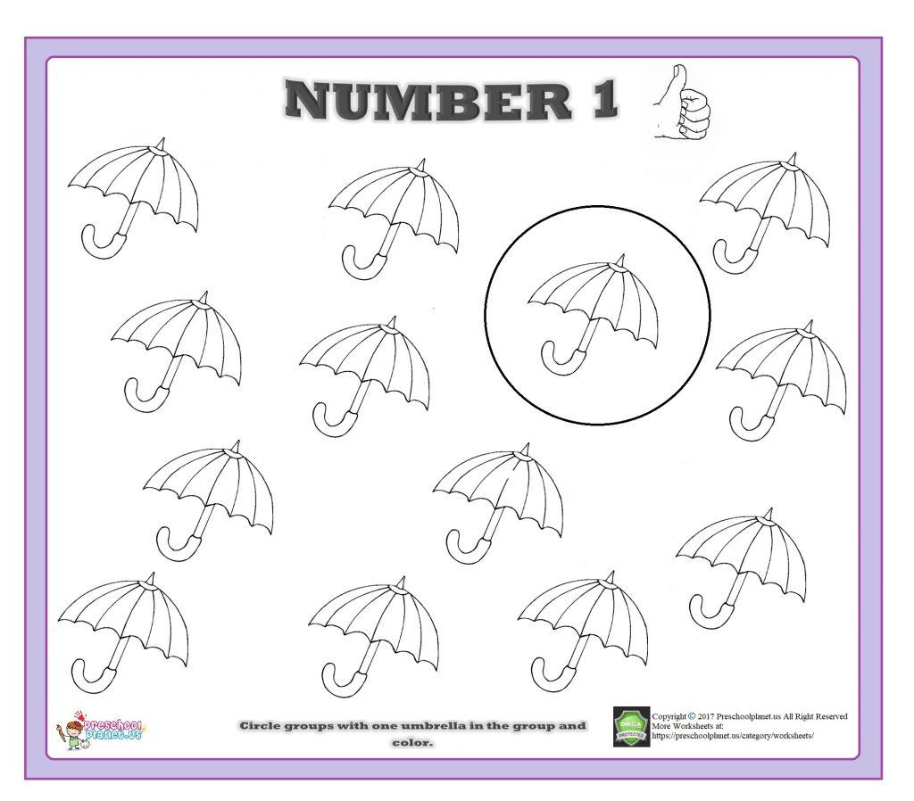 Number 1 Worksheet Preschoolplanet