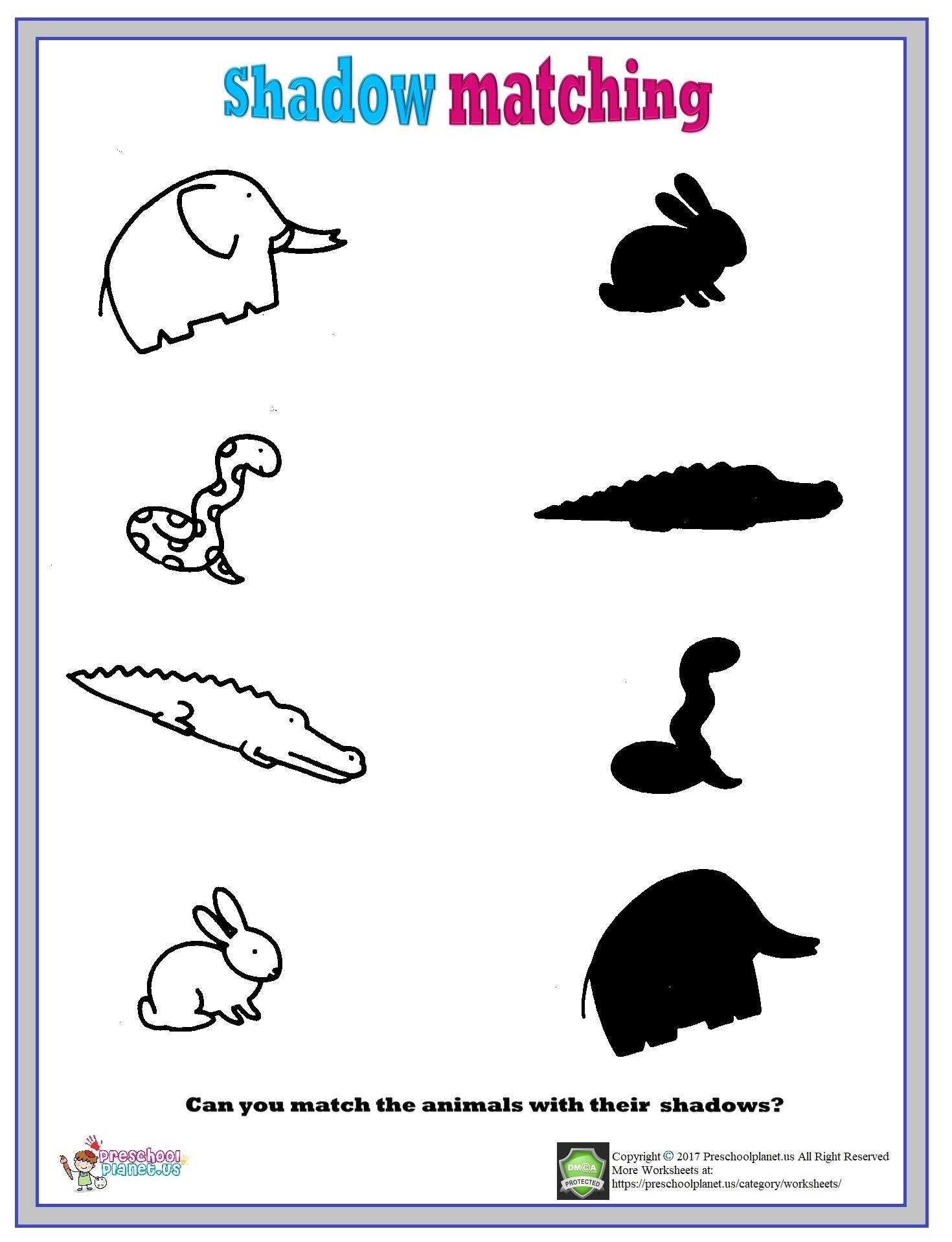 Shadow Worksheet For Kindergarten Trees