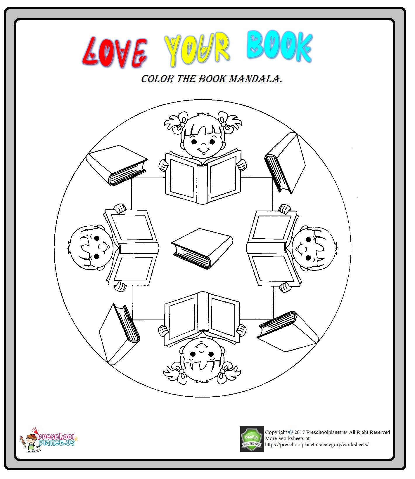 Library Week Mandala Coloring Worksheet