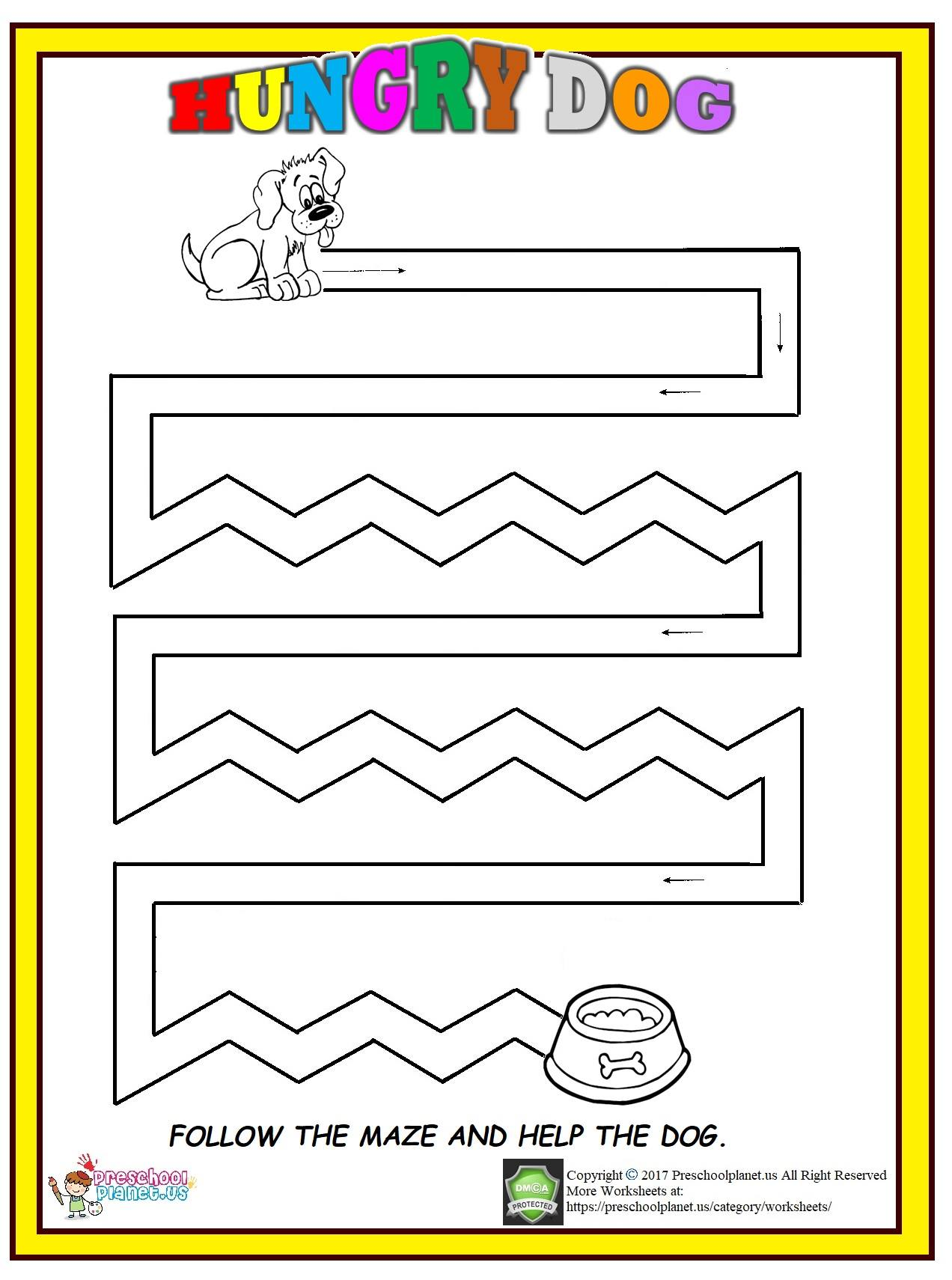 Printable Dog Maze Worksheet Preschoolplanet