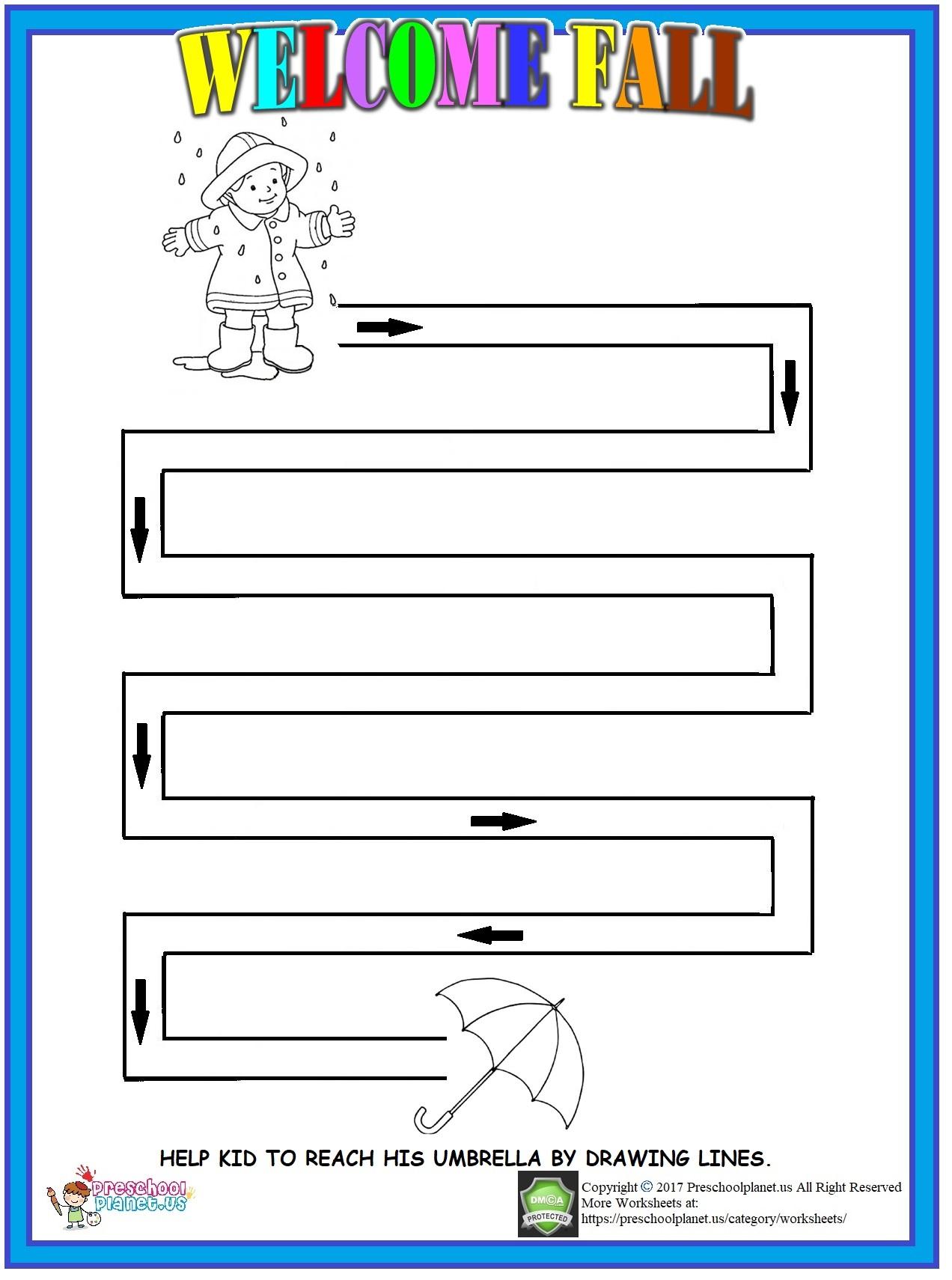 Fall Maze Worksheet For Kids Preschoolplanet