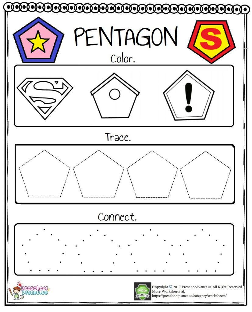 Pentagon Worksheet Preschoolplanet