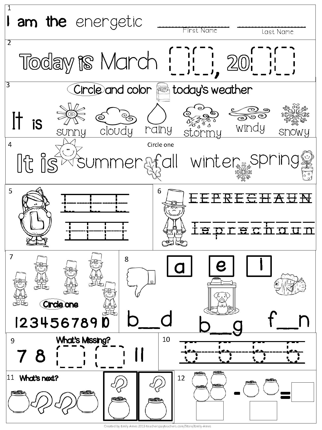 Kindergarten Homework Packet Printable Free