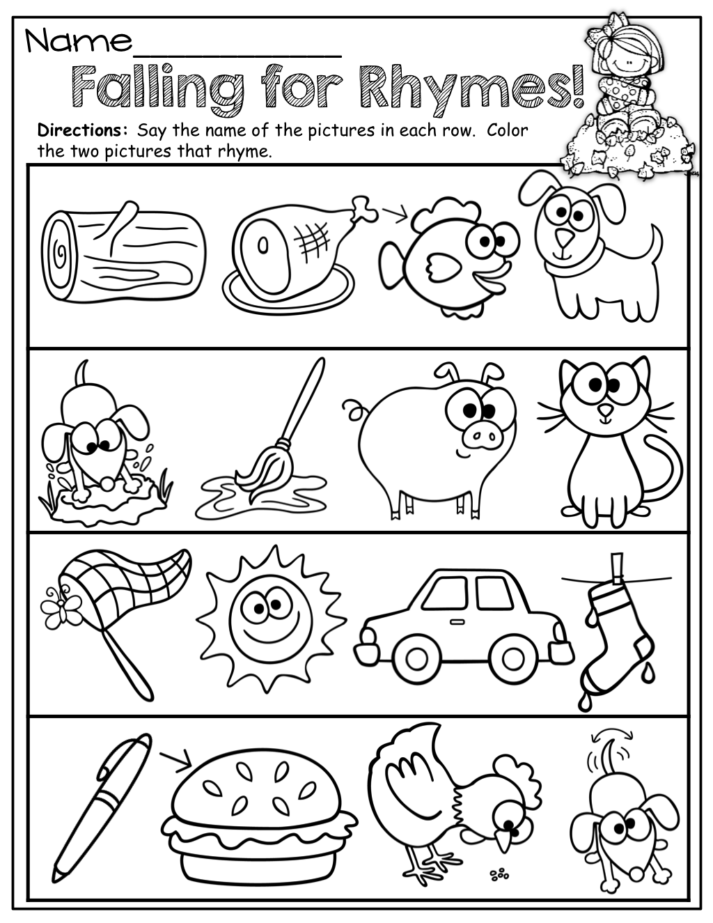 Preschool Worksheets Rhyming