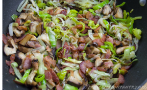 Sautéed leeks and bacon