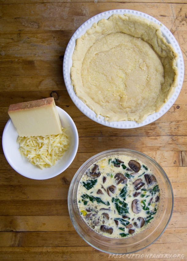 Quiche crust and grated cheese