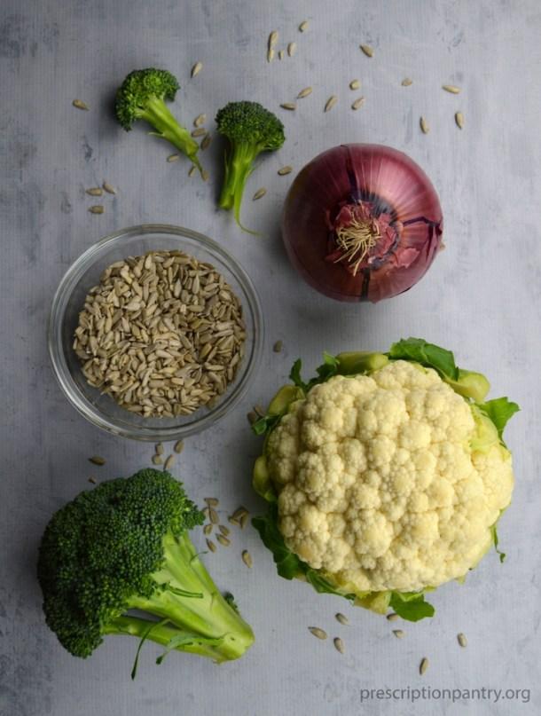 broccoli cauliflower onion sunflower seeds