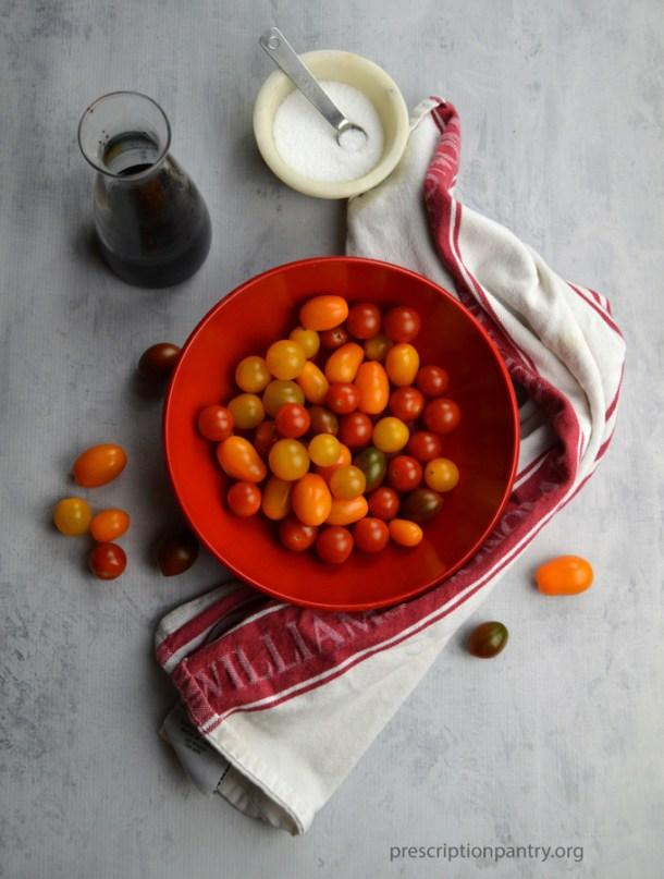 tomatoes bowl balsamic salt