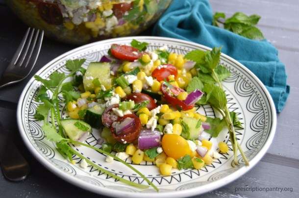 corn salad plated