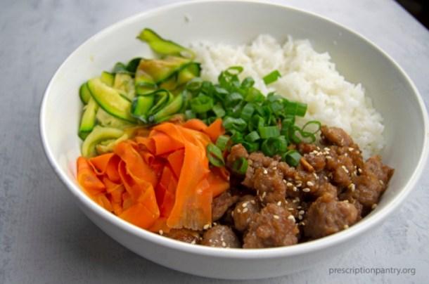 korean beef bowl rice carrots zucchini