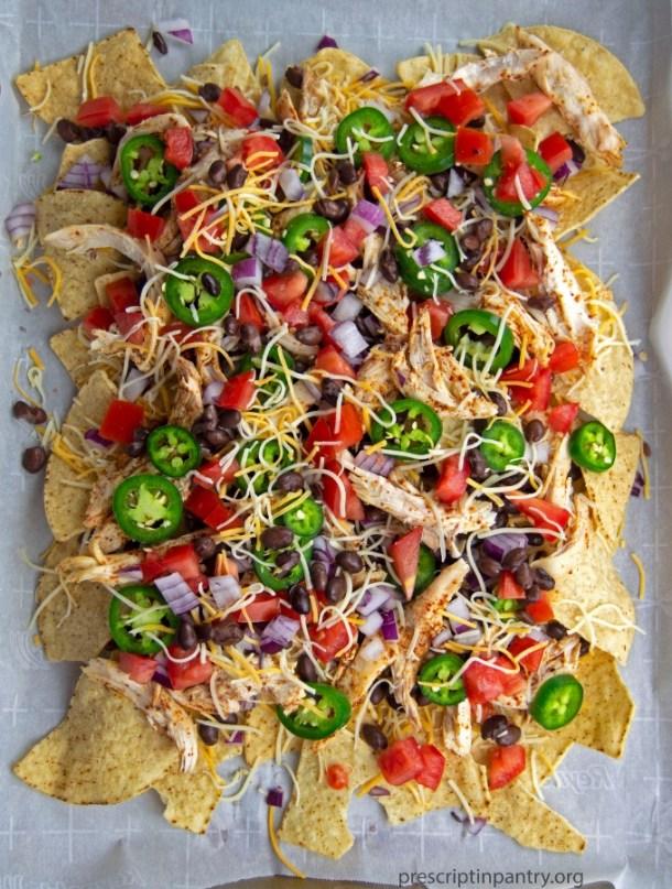 sheet pan nachos cheese chicken