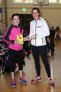 Shannon Glynn being presented her prize from Ms Cosgrove, well done Shannon