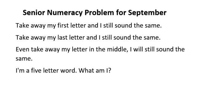 Senior Numeracy Problem for September