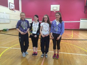 The winners of the First & Second Year Badminton Doubles Tournament with Dunmore