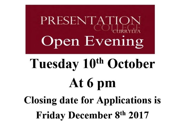 Our Open Night is Tuesday 10th of October at 6 pm Closing date for Applications is Friday December 8th 2017
