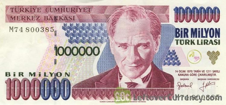 Billete turco de un millón de liras turcas. Un buen storytelling permite mantener la atención de la audiencia.