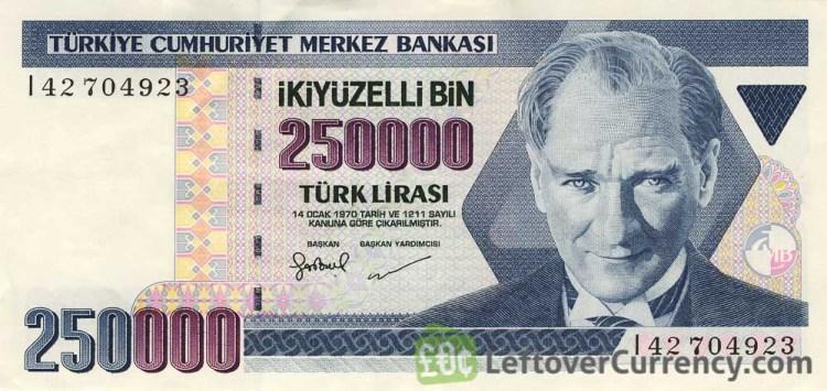 Billete turco de 250 mil liras turcas.