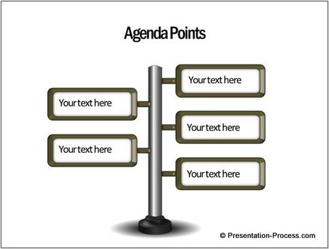 Agenda Slide made like Road Sign from CEO pack 2