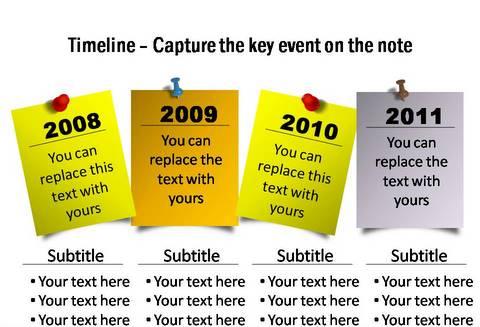 Creative PowerPoint Post It Timeline