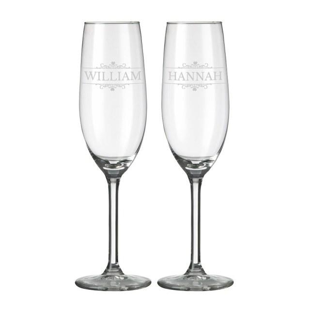 Champagneglas med kristaller och gravyr Image