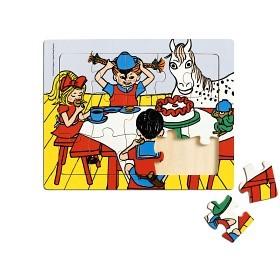 Pippi Långstrump, Rampussel i trä 15 bitar Image