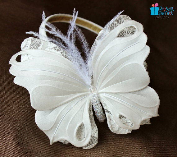 White Butterfly Headband For A Girl PresentPerfect