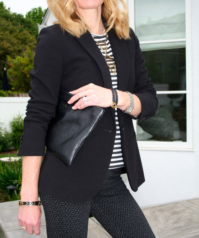 black blazer striped top