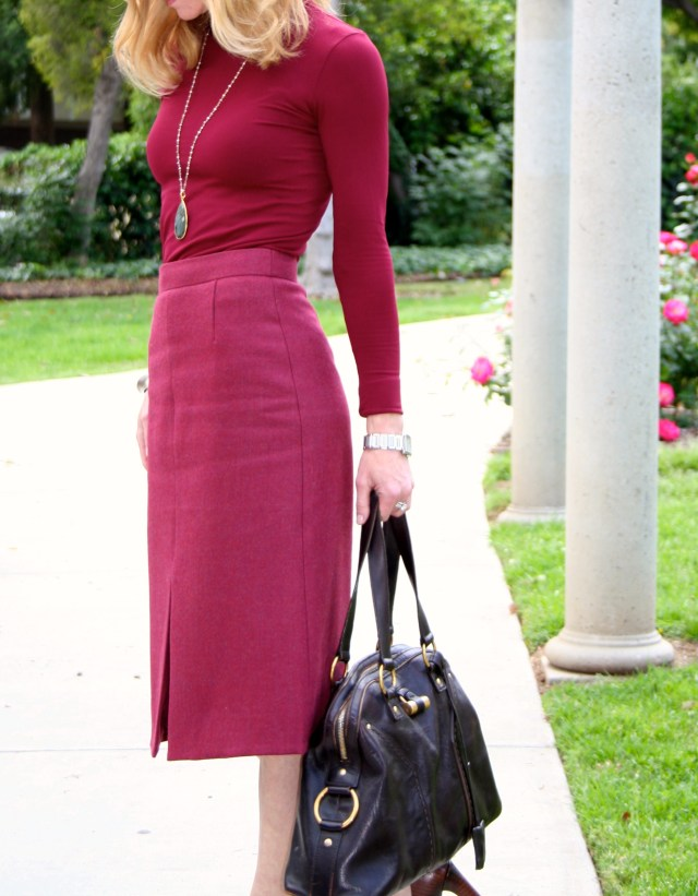 Burgundy top and skirt