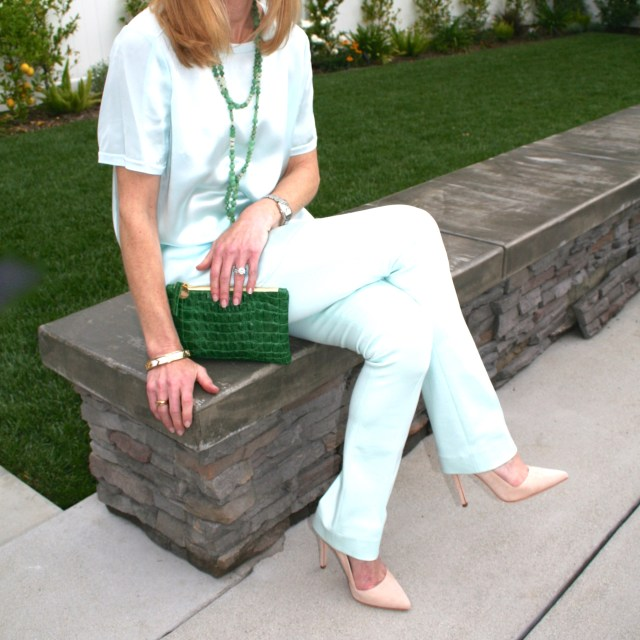 mint green pants and top